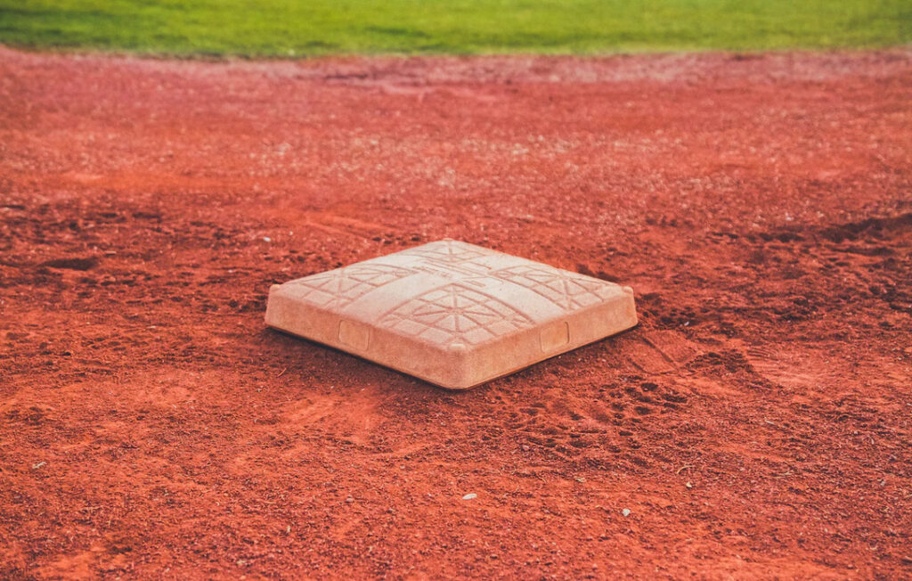 A base in a baseball field